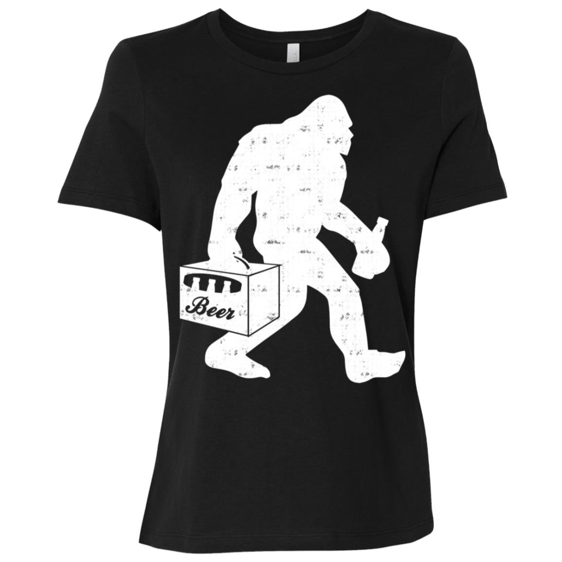 Bigfoot With Beer Funny Vintage Gift Women Short Sleeve T-Shirt