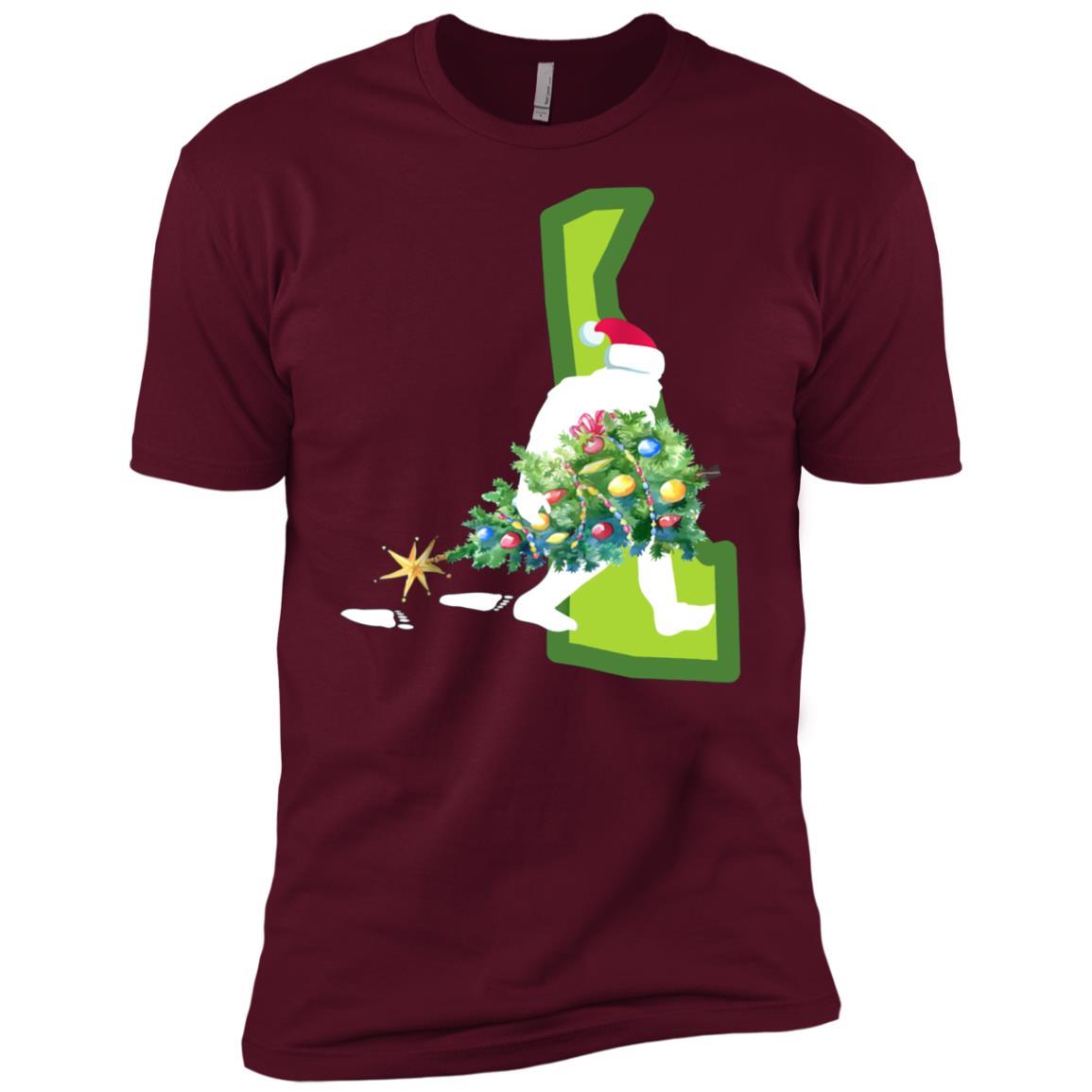 Delaware Bigfoot State Christmas Tree Men Short Sleeve T-Shirt
