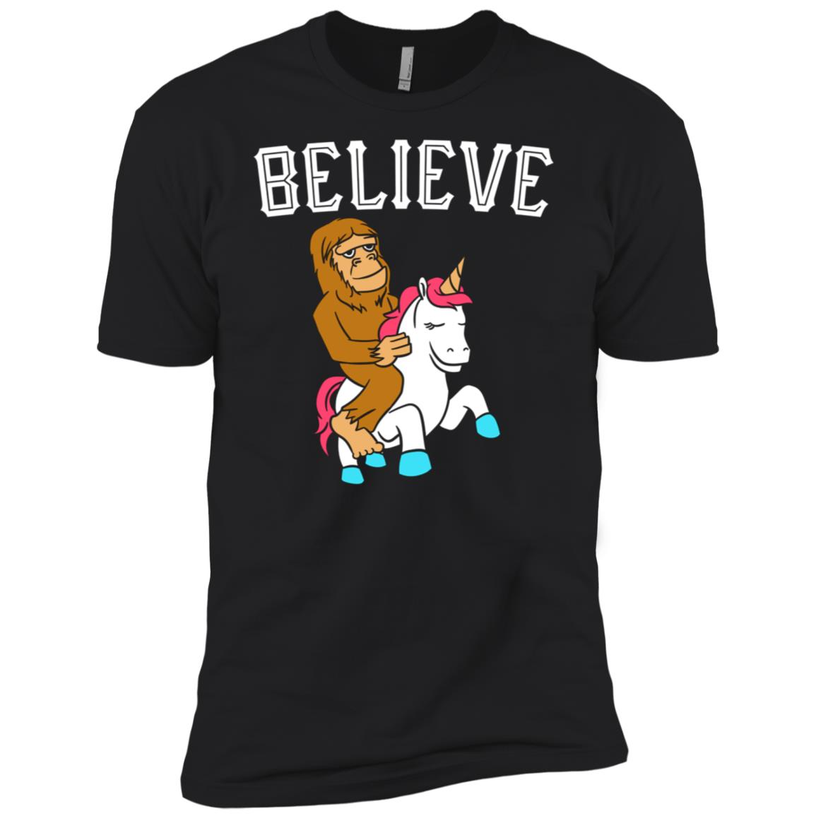 Cool Believe In Bigfoot Riding Unicorn Awesome Men Short Sleeve T-Shirt
