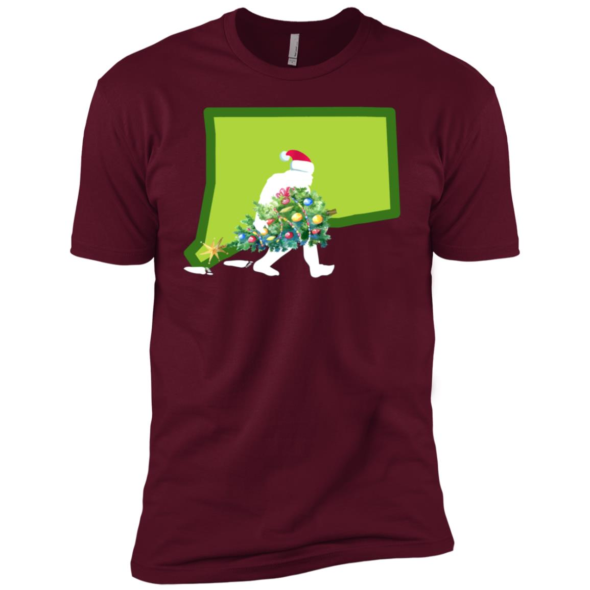 Connecticut Bigfoot State Christmas Tree Men Short Sleeve T-Shirt
