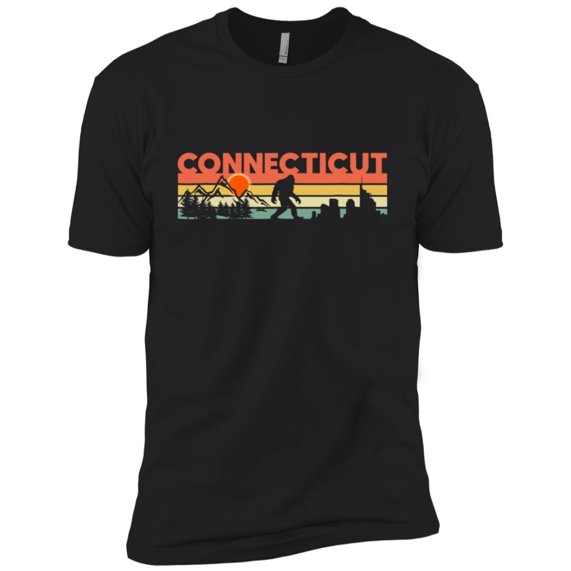Connecticut Bigfoot Silhouette Sun Vintage – Believe Men Short Sleeve T-Shirt