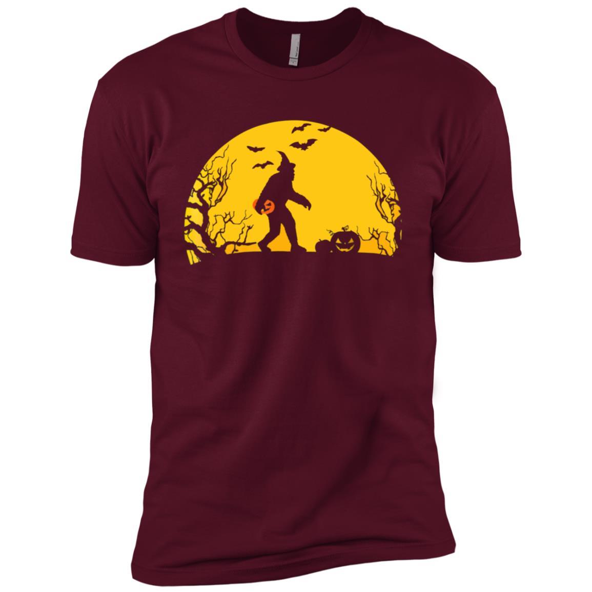 Funny Bigfoot Bring Pumpkin In The Moon Hallowen Men Short Sleeve T-Shirt
