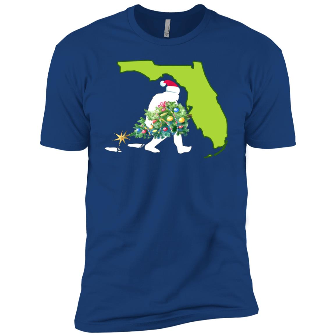 Florida Bigfoot State Christmas Tree Men Short Sleeve T-Shirt