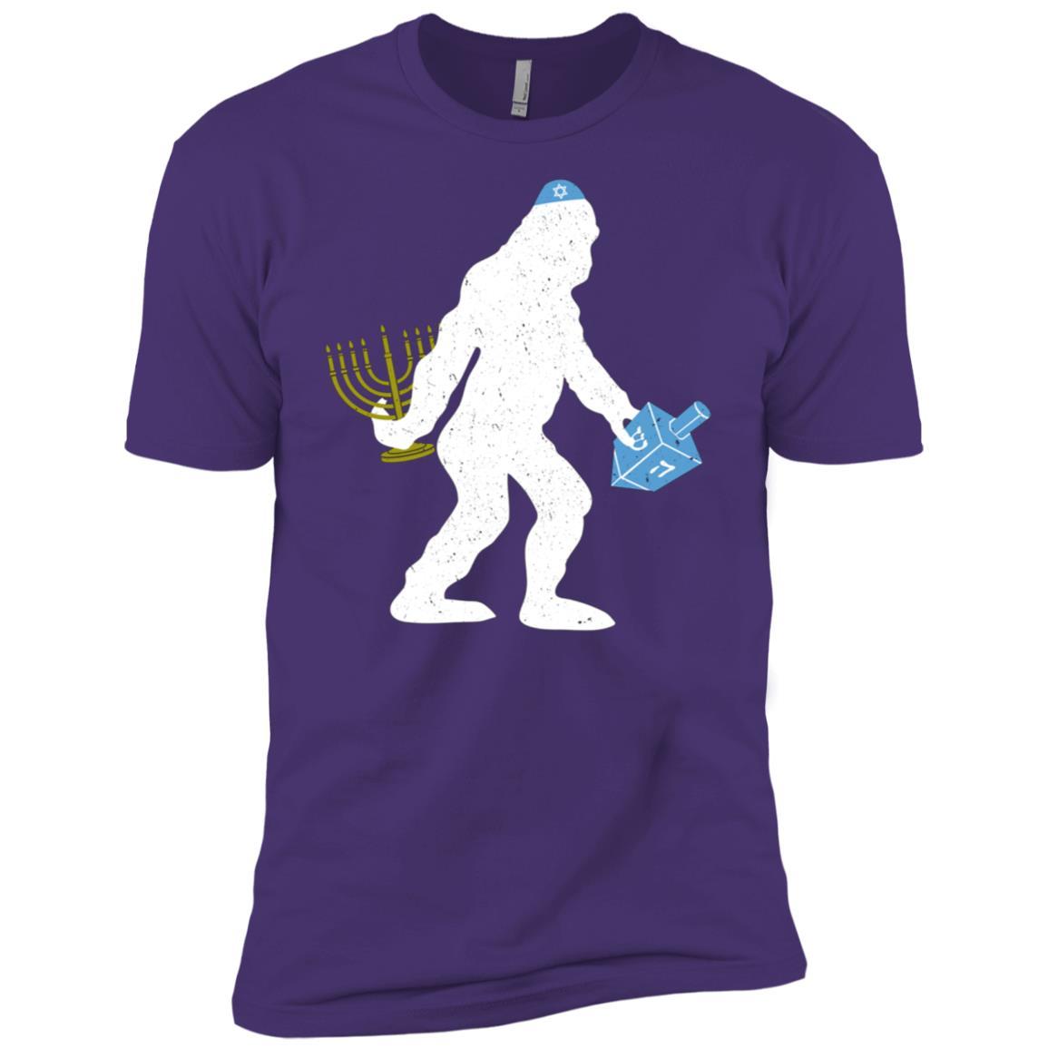 Funny Hanukkah – Bigfoot with Dreidel and Menorah Men Short Sleeve T-Shirt