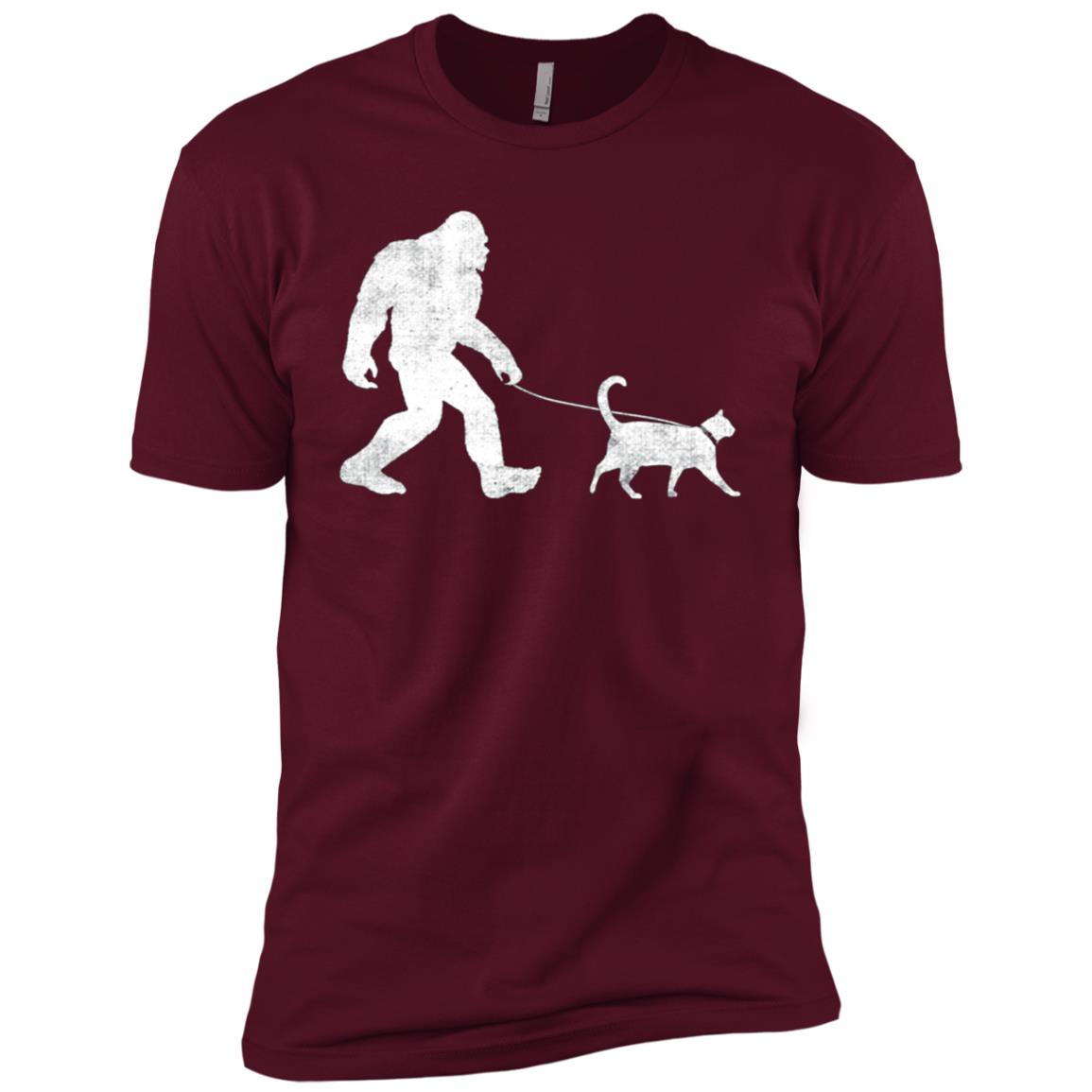 Funny Bigfoot Walking a Cat Sasquatch Yeti Cat Gift Men Short Sleeve T-Shirt
