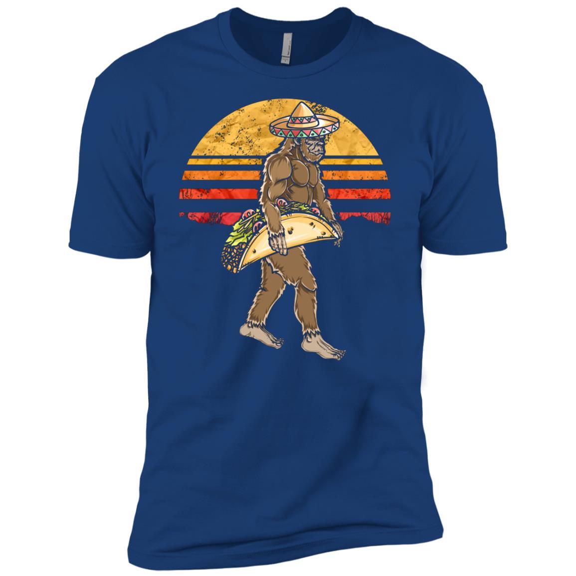 Funny Bigfoot Carrying a Taco Cinco de Mayo Men Short Sleeve T-Shirt
