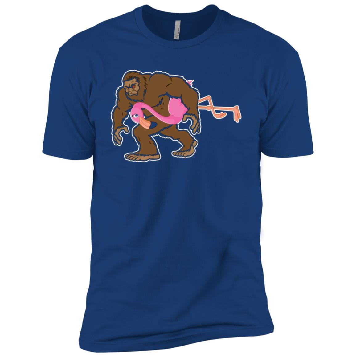 Funny Bigfoot Carrying a Flamingo d Men Short Sleeve T-Shirt