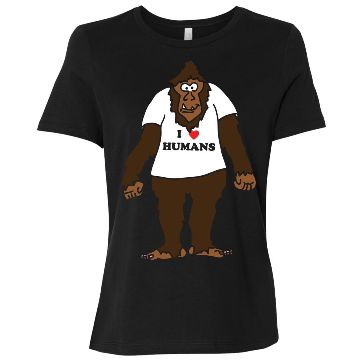 Funny Bigfoot I Love Humans Humanist Women Short Sleeve T-Shirt
