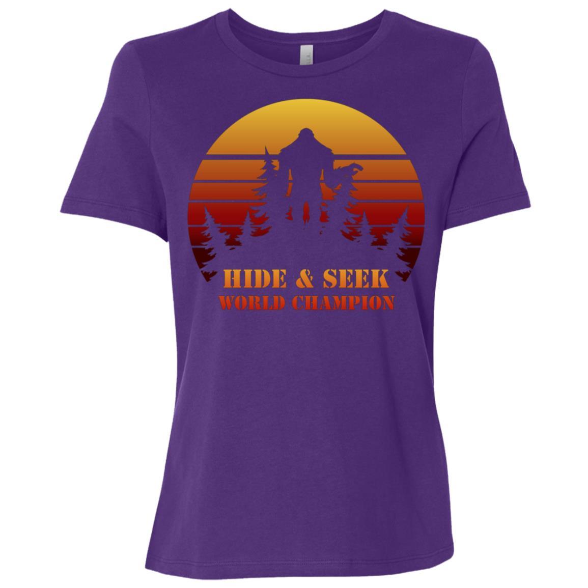 Funny Bigfoot Hide And Seek Champion Sasquatch Women Short Sleeve T-Shirt