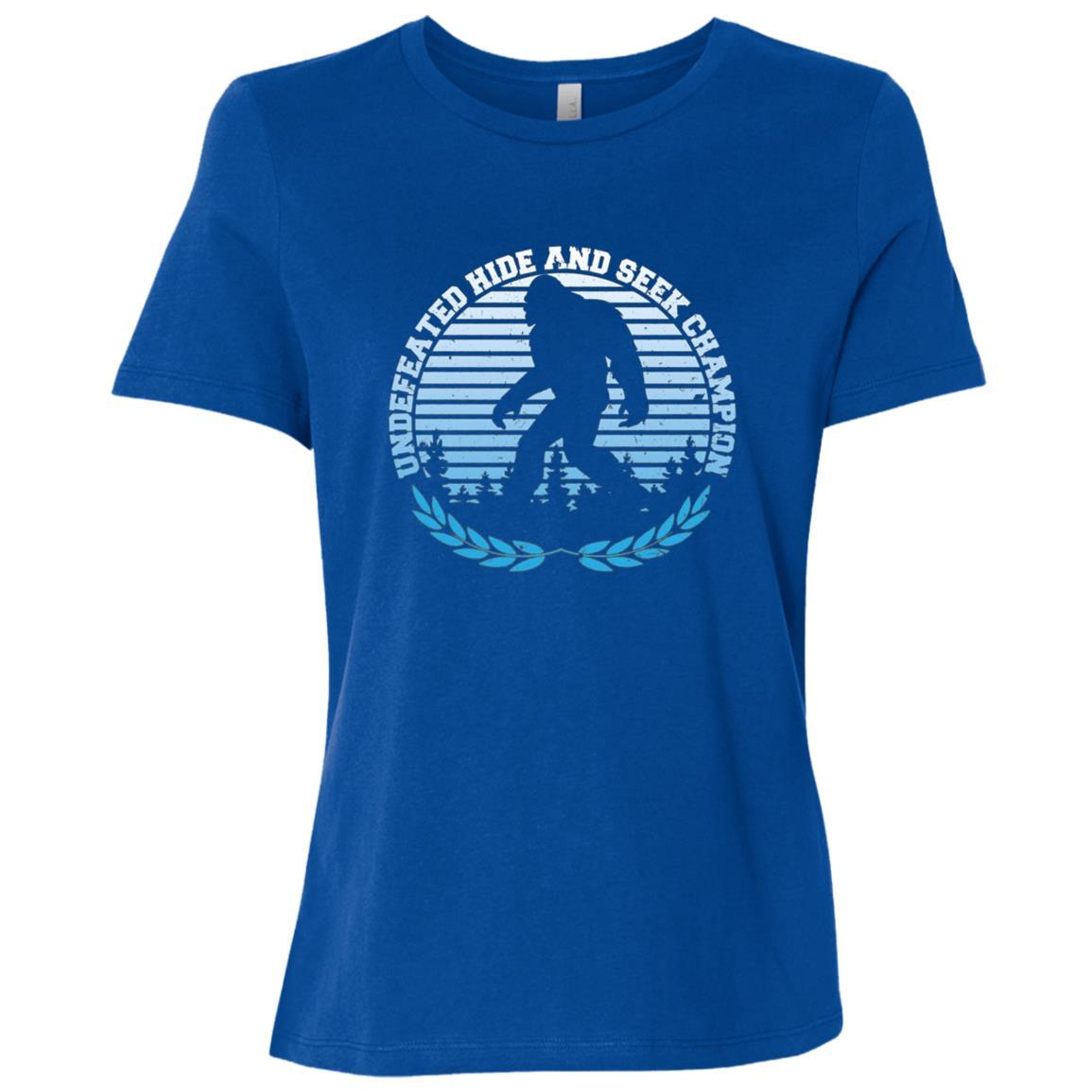 Funny Bigfoot Hide and Seek Champion d Women Short Sleeve T-Shirt