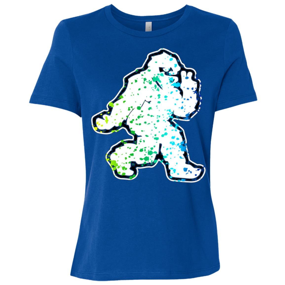 Funny Bigfoot doing Peace Sign Yeti Vintage Women Short Sleeve T-Shirt