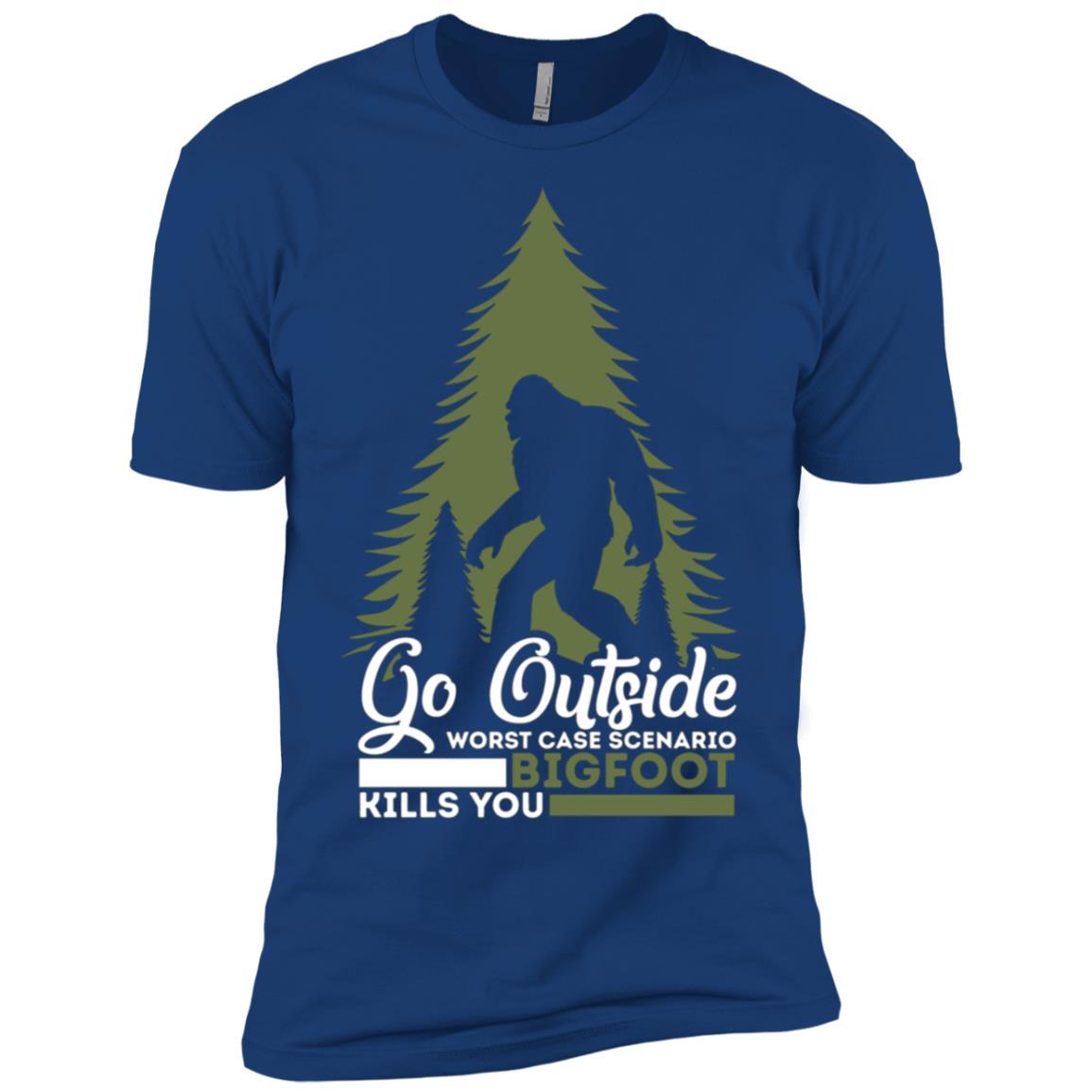 Go Outside Funny Worst Case Scenario Bigfoot Men Short Sleeve T-Shirt