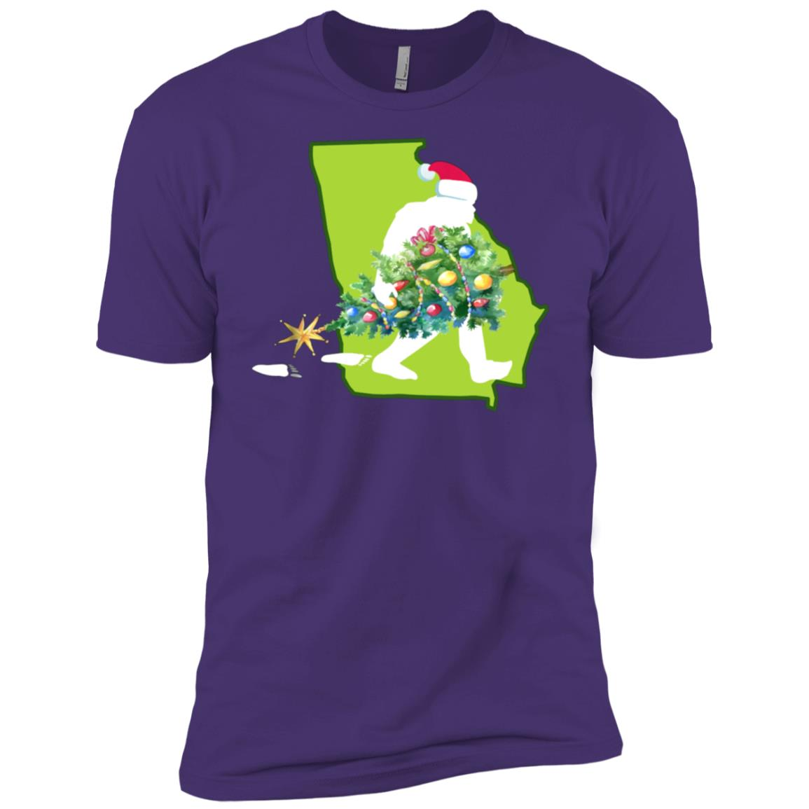 Georgia Bigfoot State Christmas Tree Men Short Sleeve T-Shirt