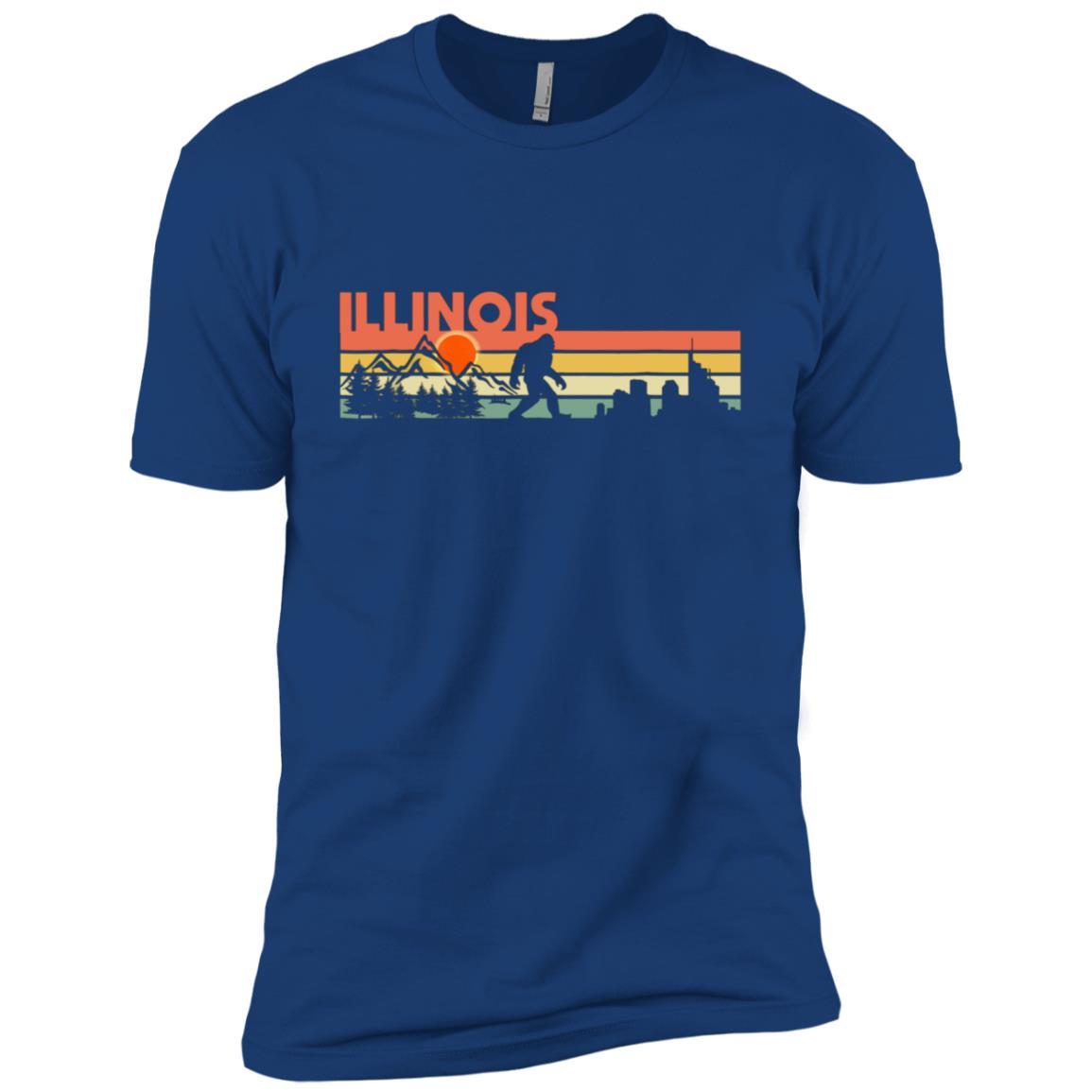 Illinois Bigfoot Silhouette Sun Vintage – Believe! Men Short Sleeve T-Shirt
