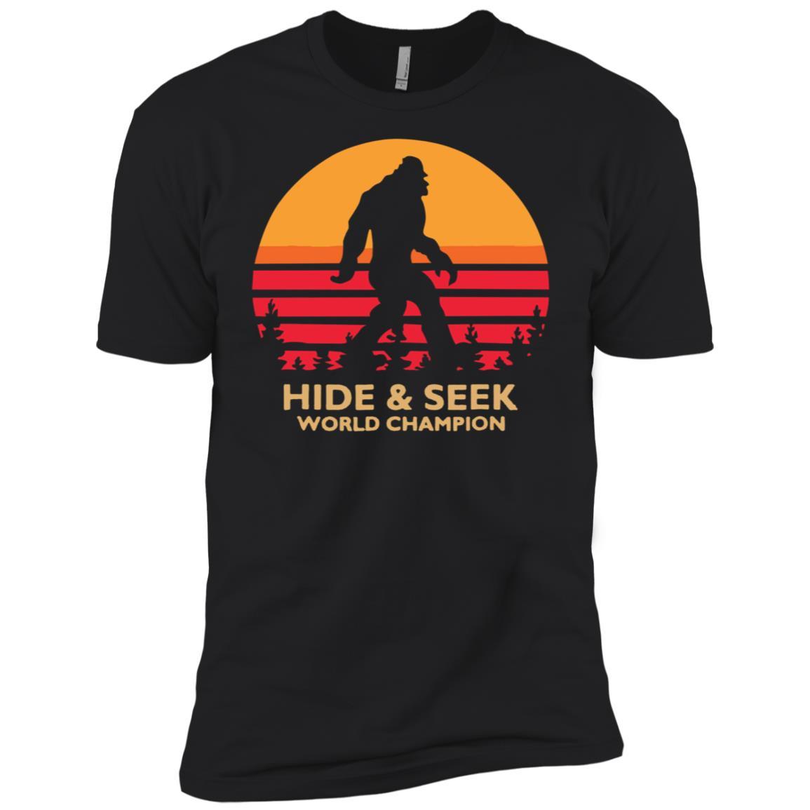 Hide and Seek World Champion Bigfoot Retro Vintage Men Short Sleeve T-Shirt