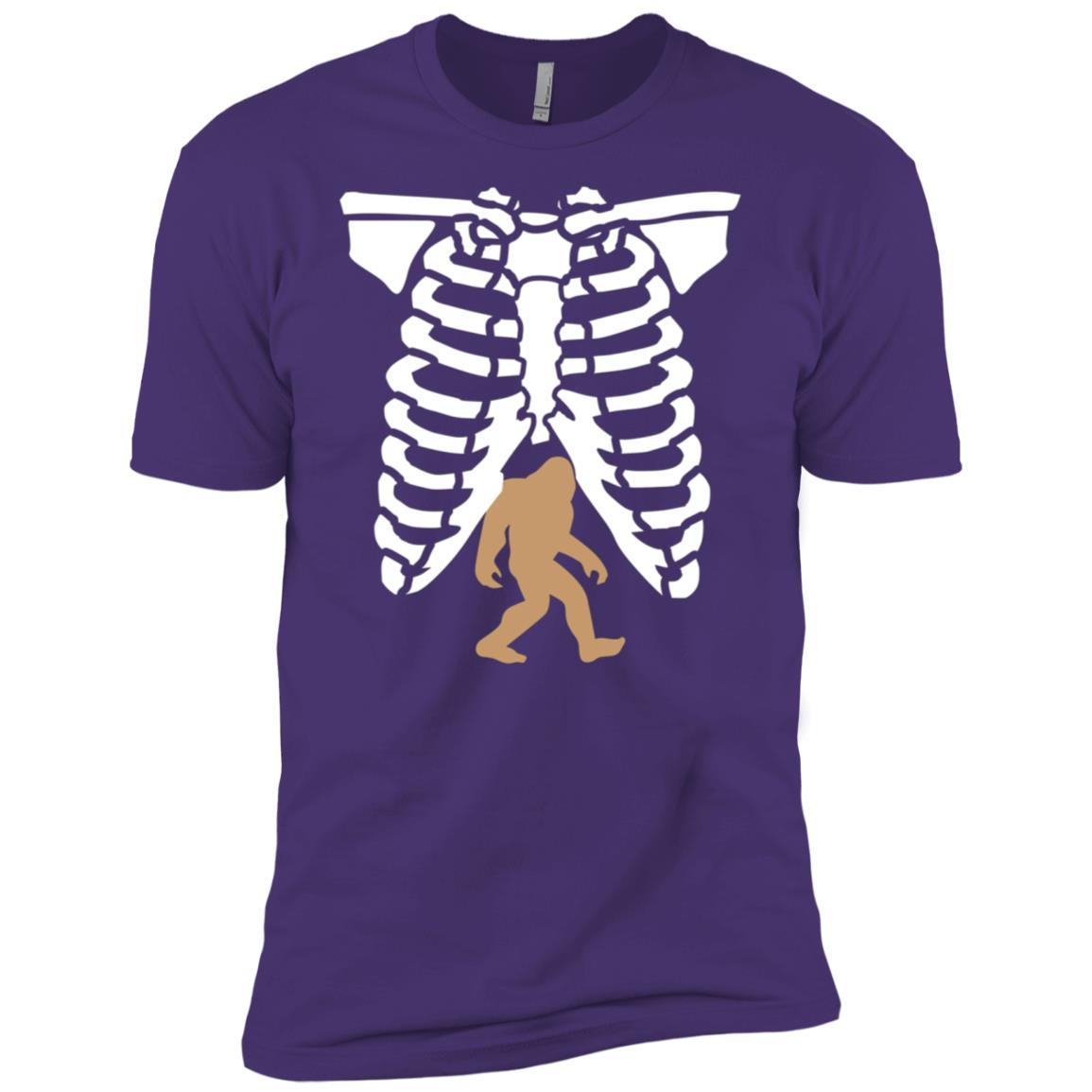 Halloween Skeleton Chest Bigfoot X-Ray Funny Costume Men Short Sleeve T-Shirt