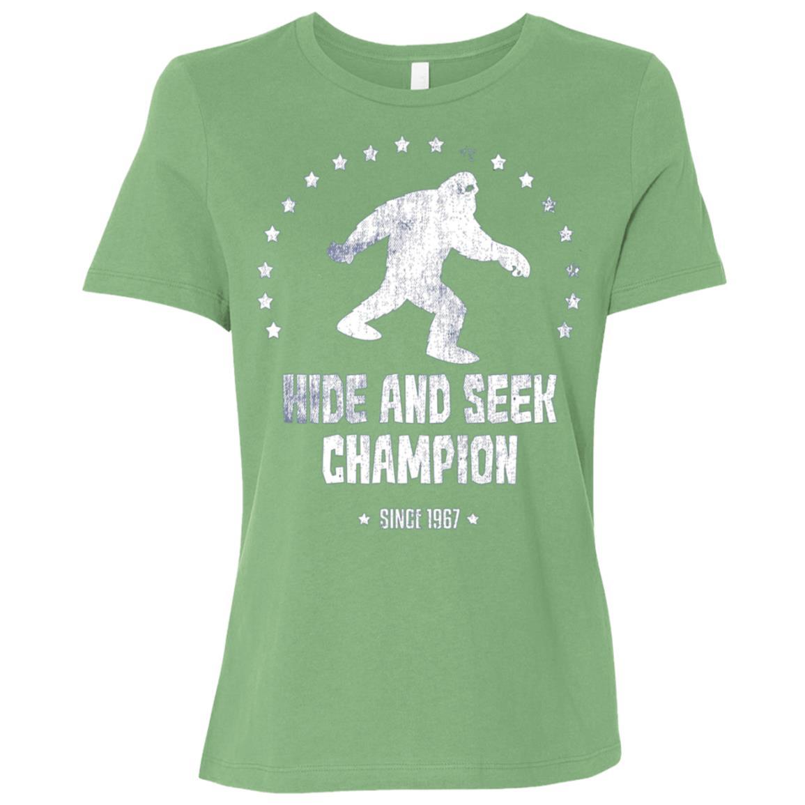 Hide And Seek Bigfoot Sasquatch 1967 Champion Long Women Short Sleeve T-Shirt