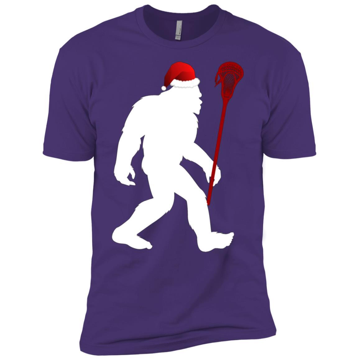 Lacrosse Christmas Bigfoot Plays Lacrosse Tee Men Short Sleeve T-Shirt