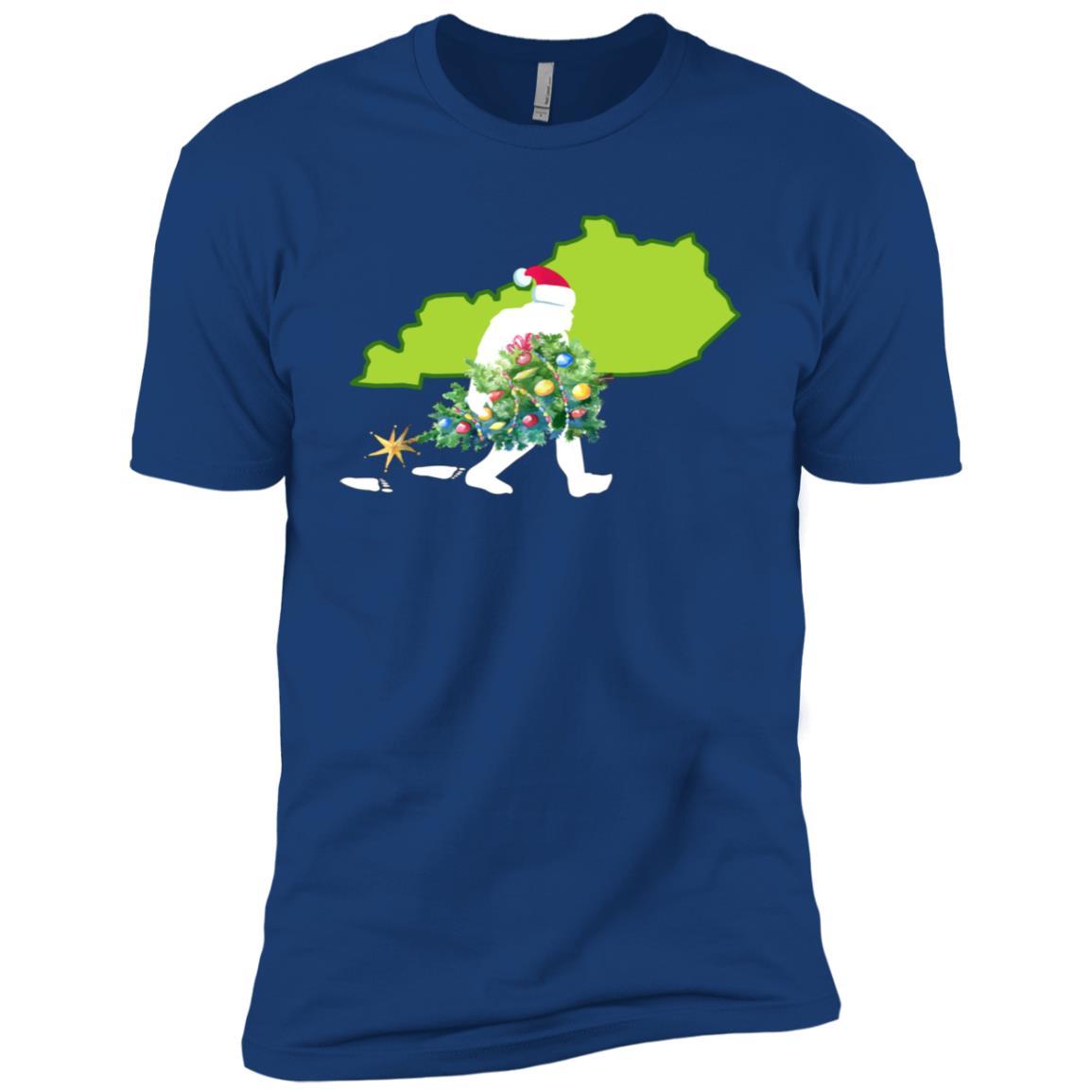 Kentucky Bigfoot State Christmas Tree Men Short Sleeve T-Shirt