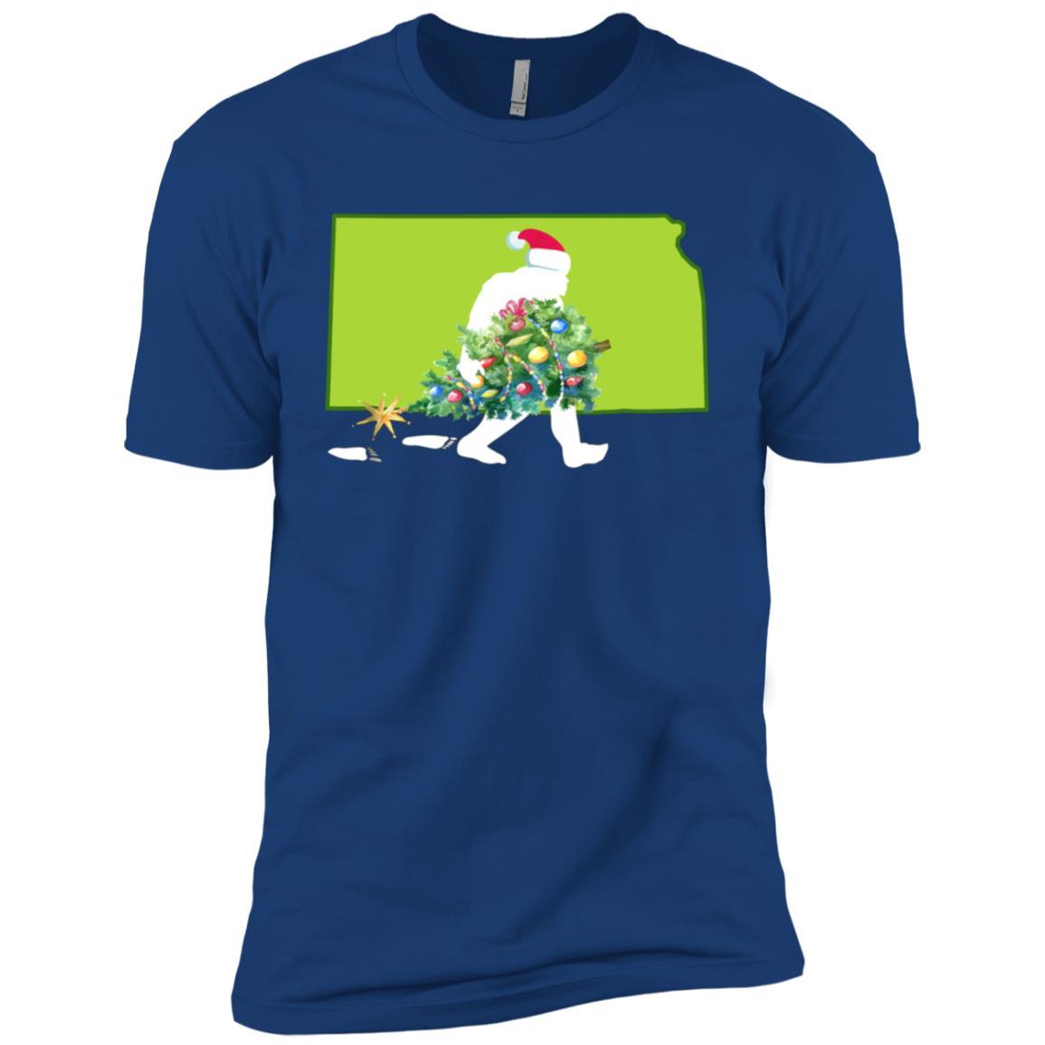 Kansas Bigfoot State Christmas Tree Men Short Sleeve T-Shirt