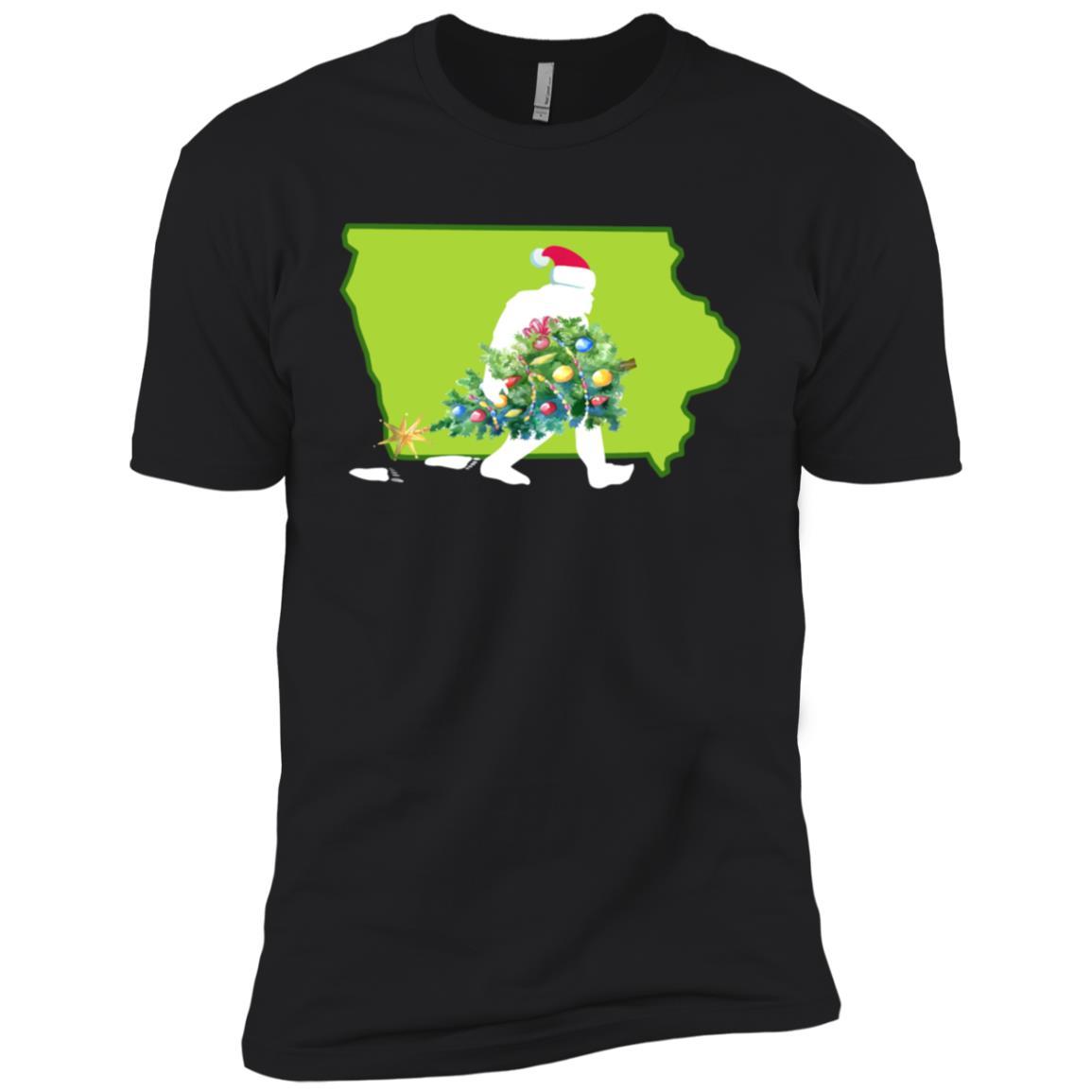 Iowa Bigfoot State Christmas Tree Men Short Sleeve T-Shirt