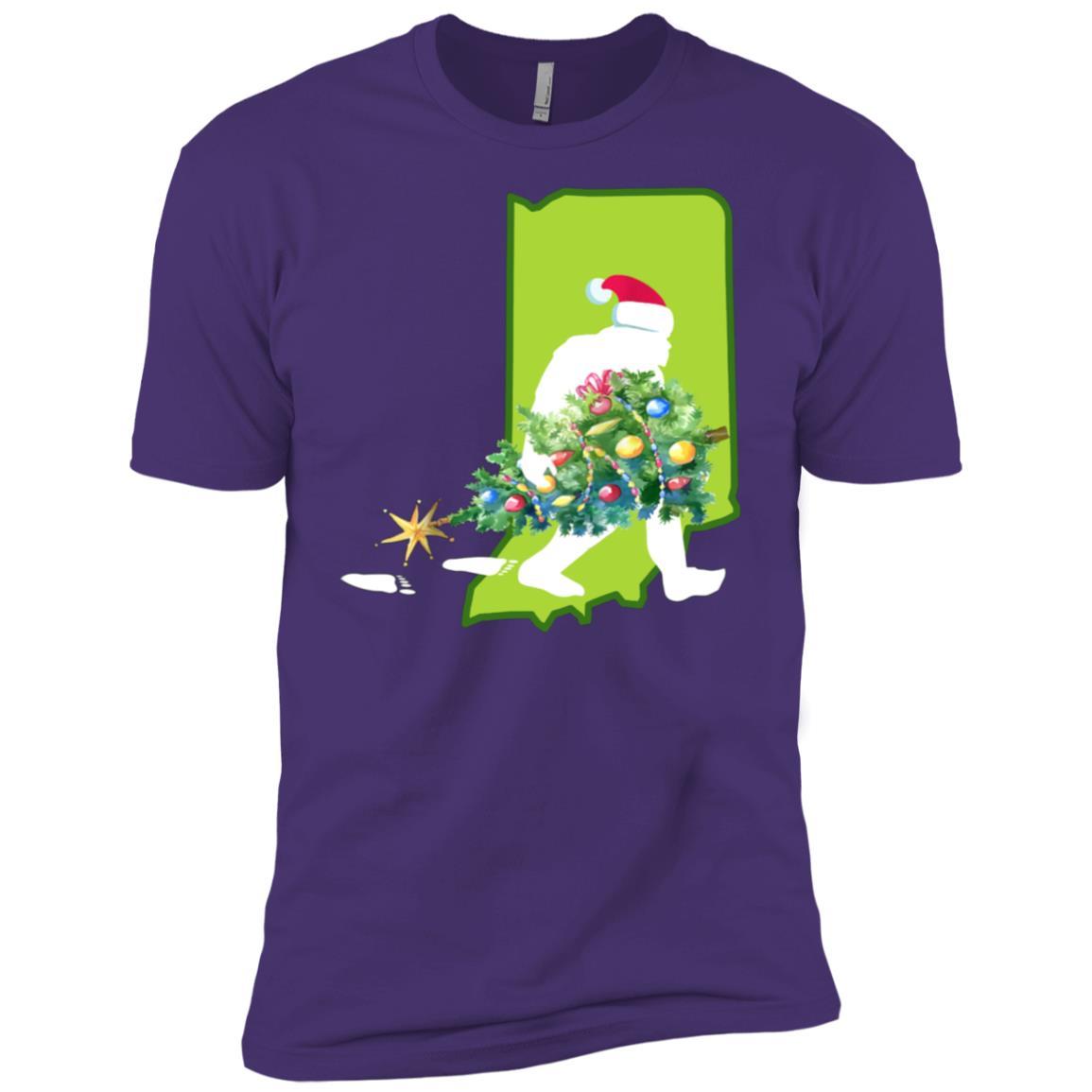 Indiana Bigfoot State Christmas Tree Men Short Sleeve T-Shirt