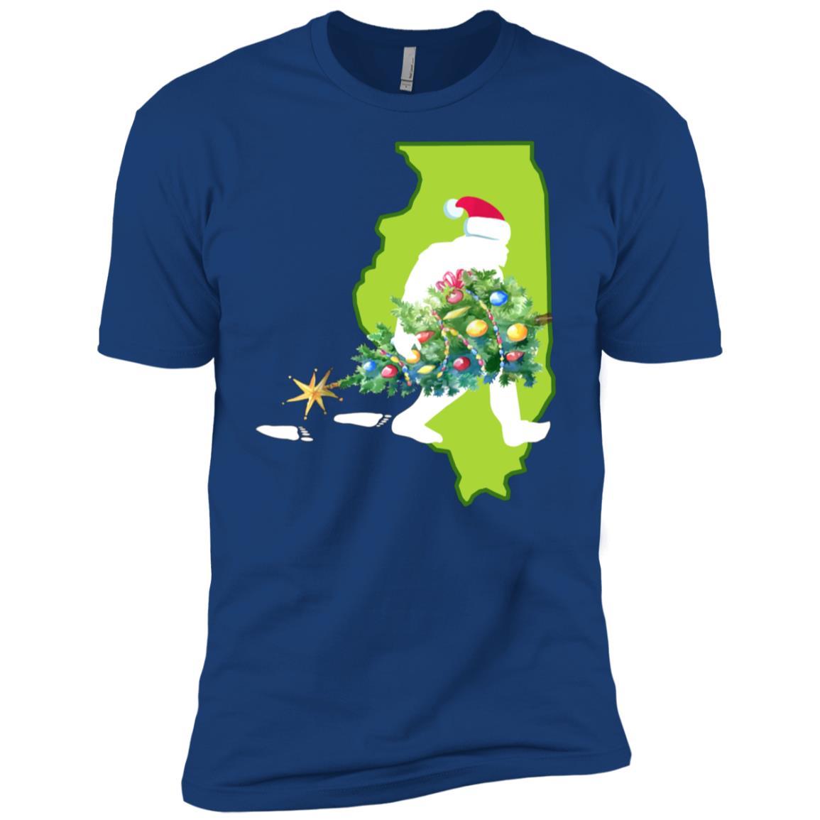 Illinois Bigfoot State Christmas Tree Men Short Sleeve T-Shirt