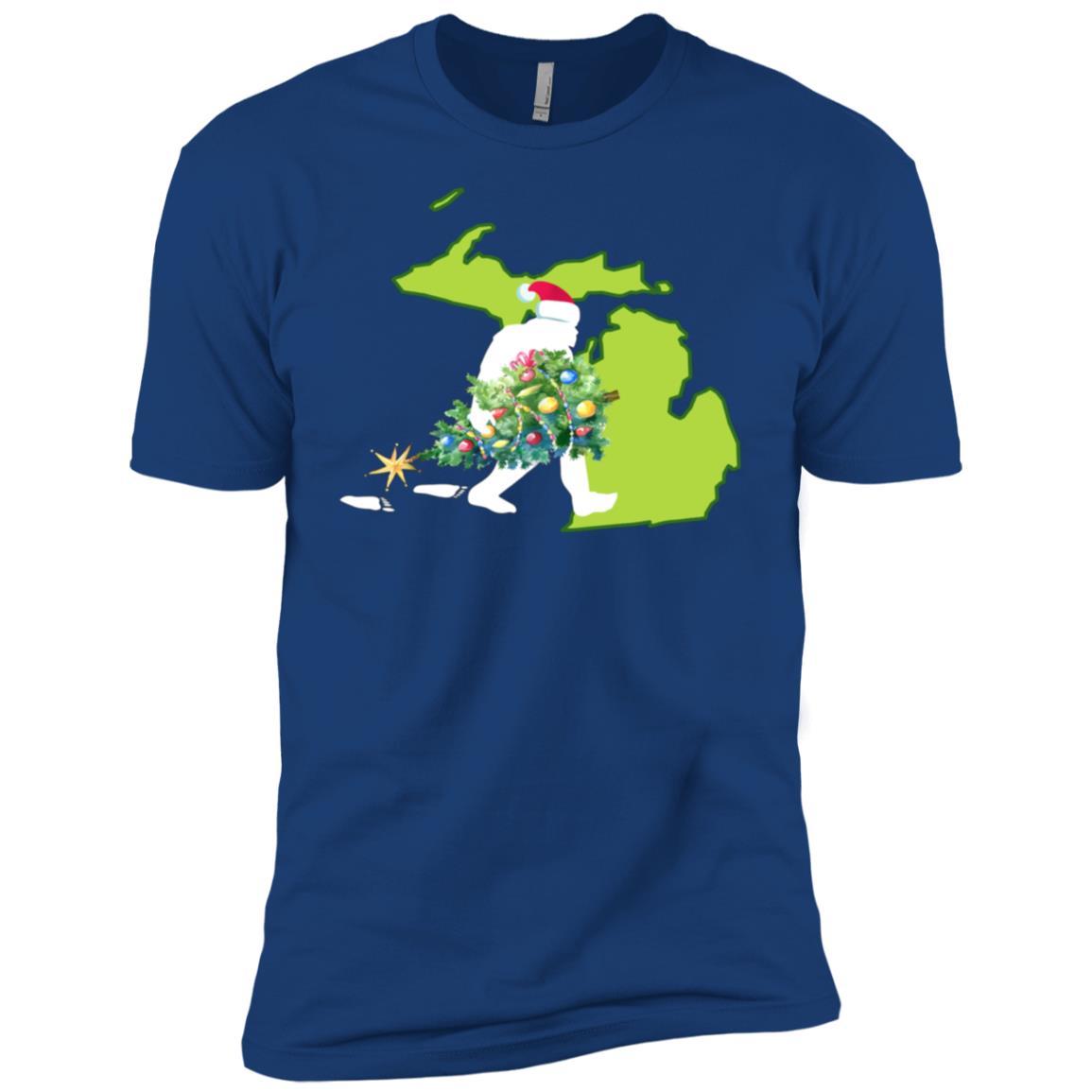 Michigan Bigfoot State Christmas Tree Men Short Sleeve T-Shirt
