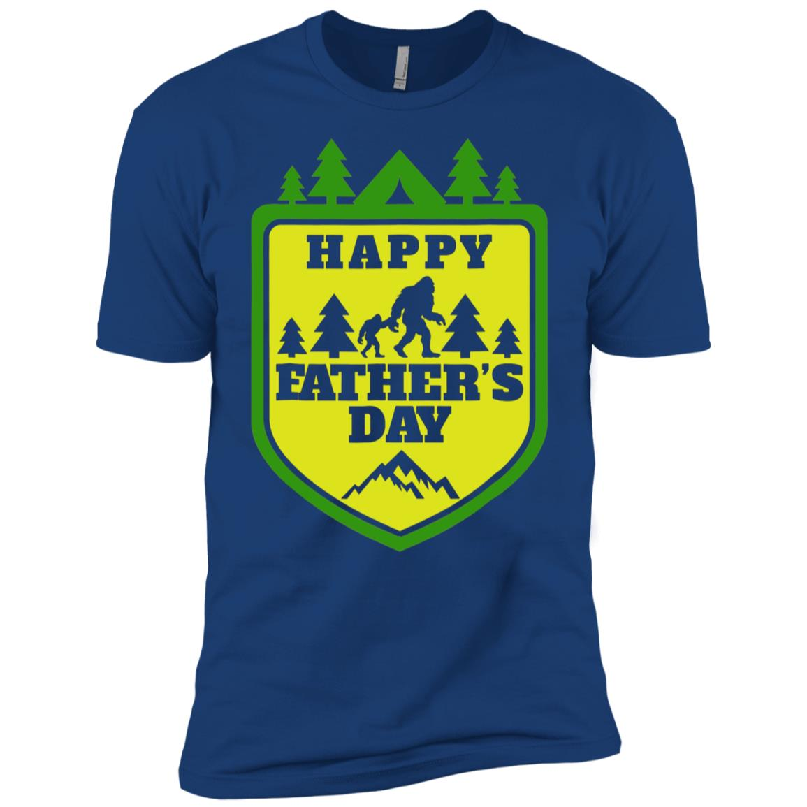 Mens Bigfoot and His Son Funny Dad Father's Day Yeti Tees Men Short Sleeve T-Shirt