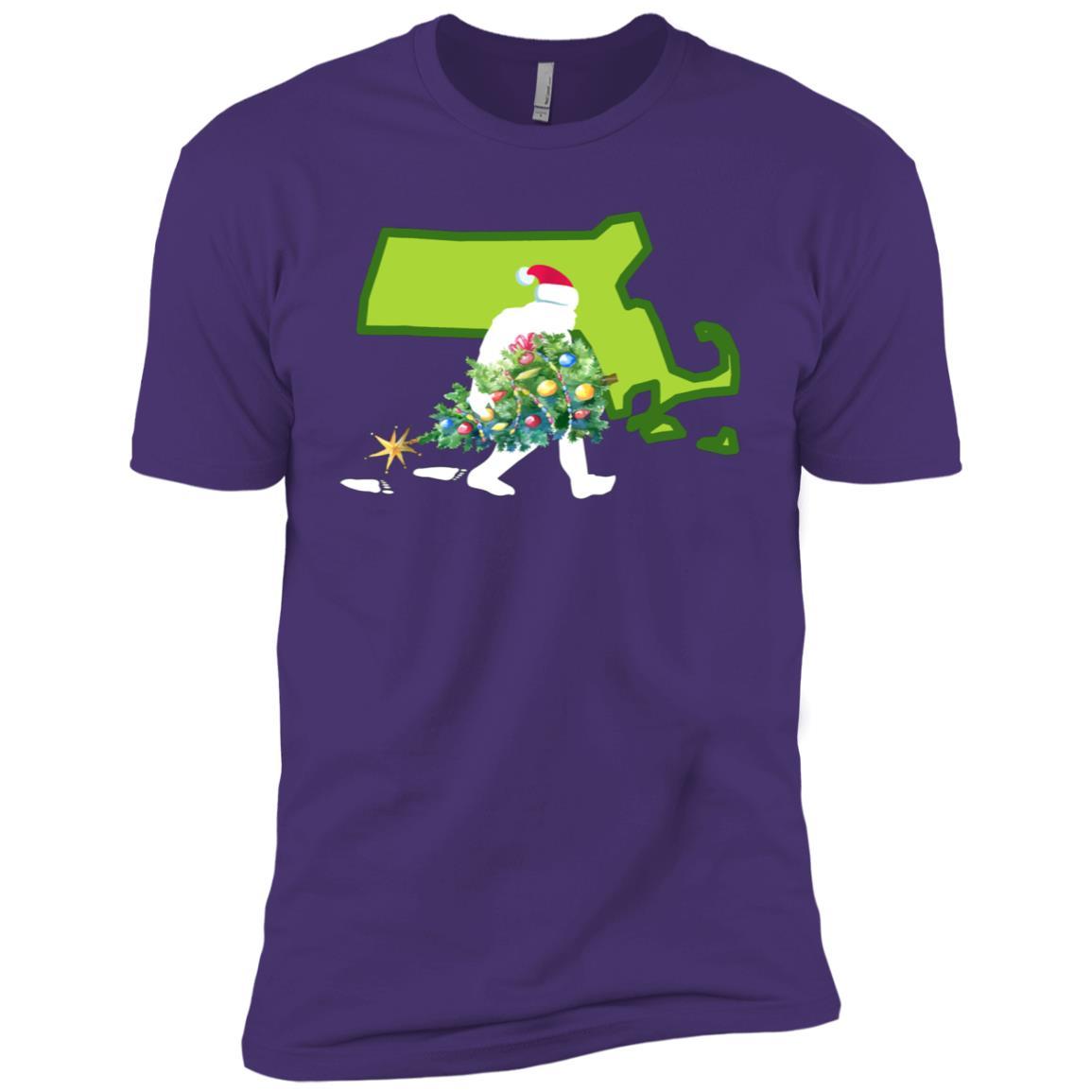 Massachusetts Bigfoot State Christmas Tree Men Short Sleeve T-Shirt