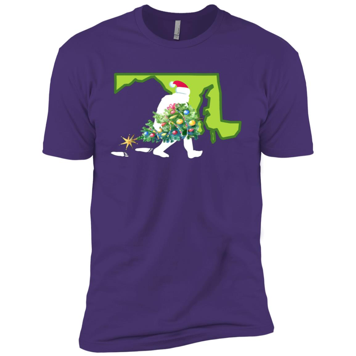 Maryland Bigfoot State Christmas Tree Men Short Sleeve T-Shirt