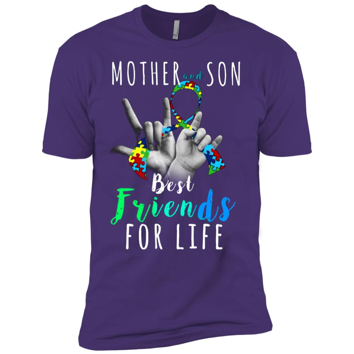 Autism Awareness Mother and Son Best Friend for Life Men Short Sleeve T-Shirt
