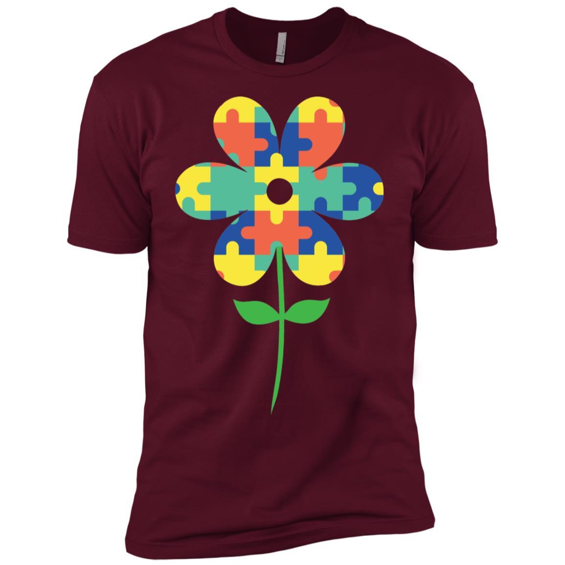 Autism Awareness Acceptance Puzzle Flower Tee Men Short Sleeve T-Shirt