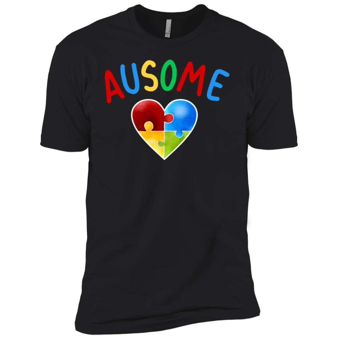 Ausome Jigsaw Heart Autism Awareness Men Short Sleeve T-Shirt