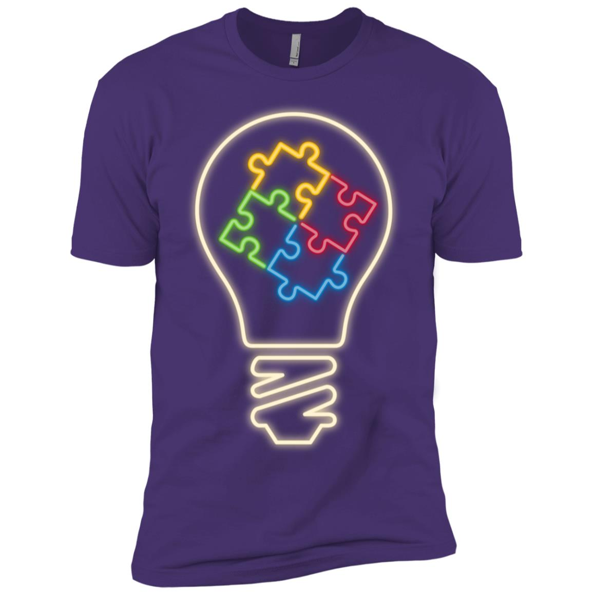 80s Retro Neon Sign Autism Awareness Light It Up Blue Men Short Sleeve T-Shirt