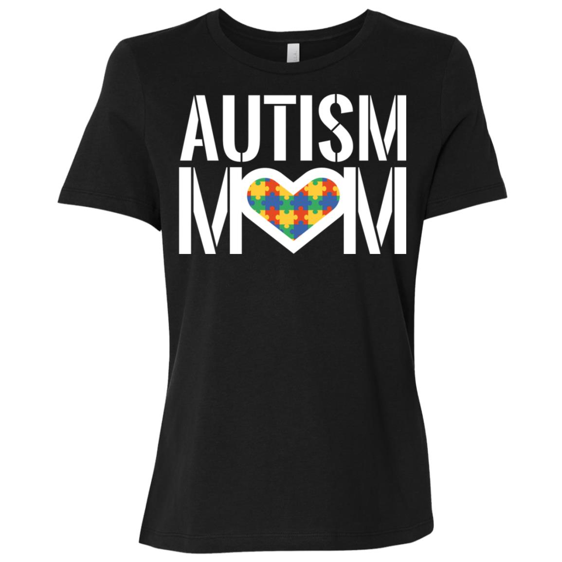 Autism Mom – Heart with Autism Puzzle Women Short Sleeve T-Shirt