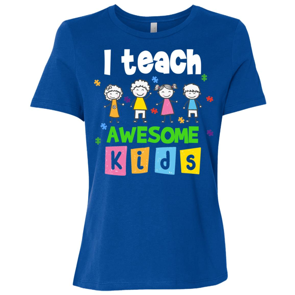 Autism Awarenesss I Teach Awesome Kids Women Short Sleeve T-Shirt