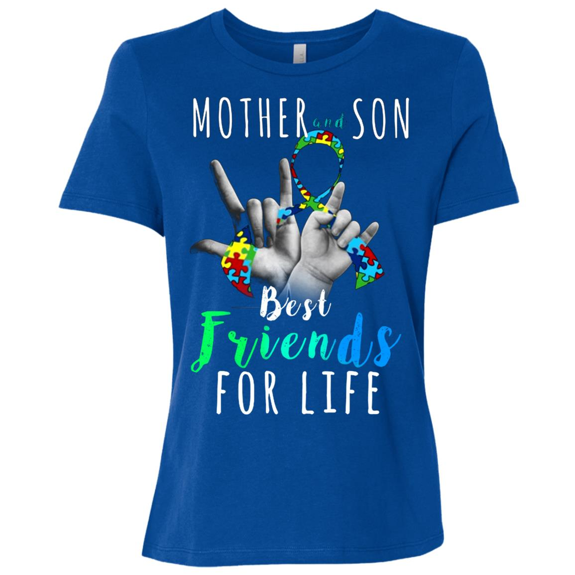 Autism Awareness Mother and Son Best Friend for Life Women Short Sleeve T-Shirt