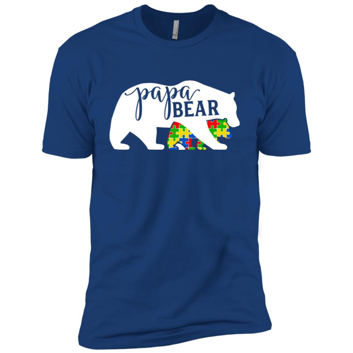 Dad Papa Bear Autism Awareness Month Family Support Men Short Sleeve T-Shirt
