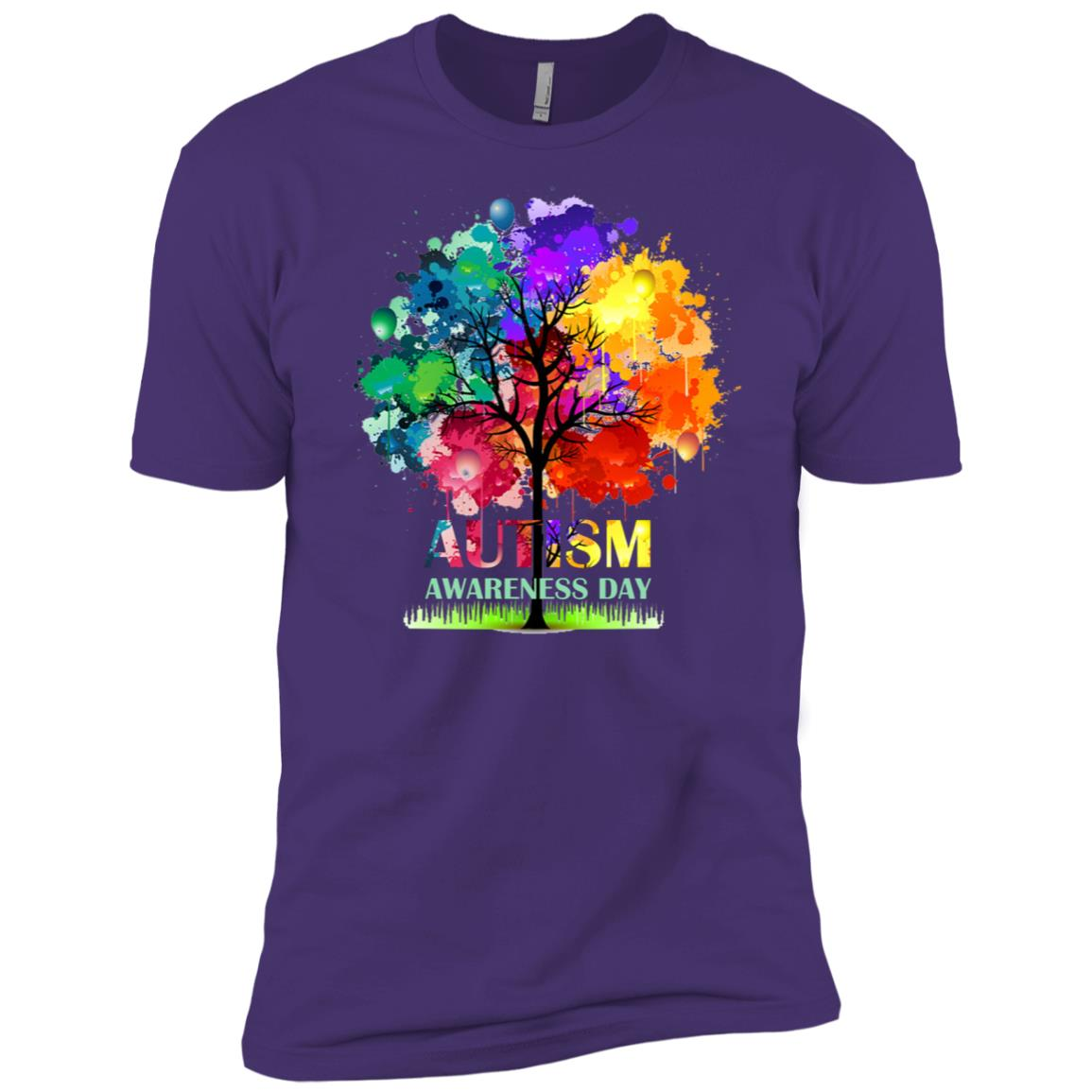 Colorful Autism Tree Autism Awareness Day Men Short Sleeve T-Shirt