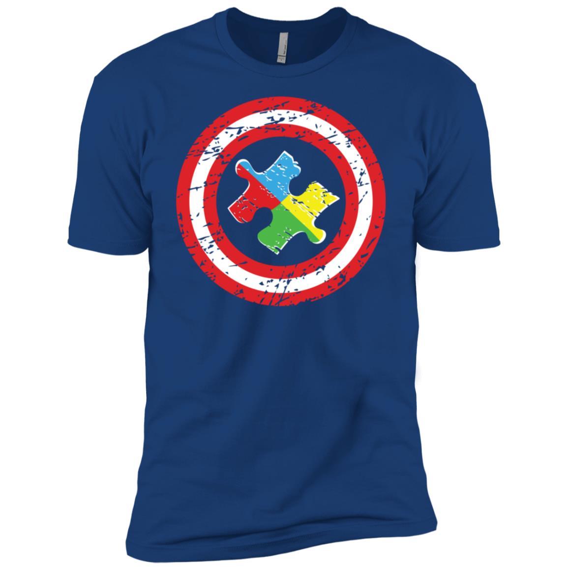 Captain Autism Awareness Puzzle Men Short Sleeve T-Shirt