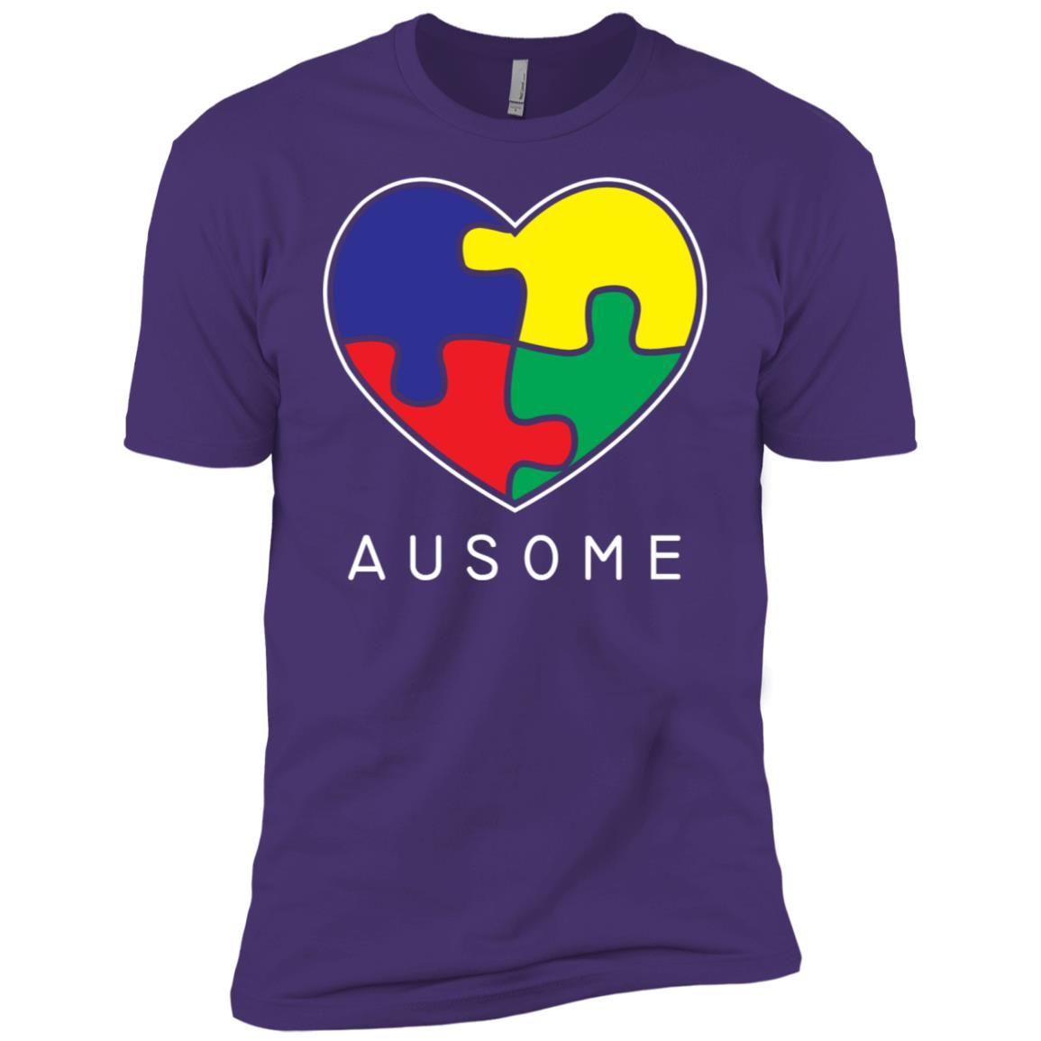 Big Awesome Autism Heart Autism Awareness Tee Men Short Sleeve T-Shirt