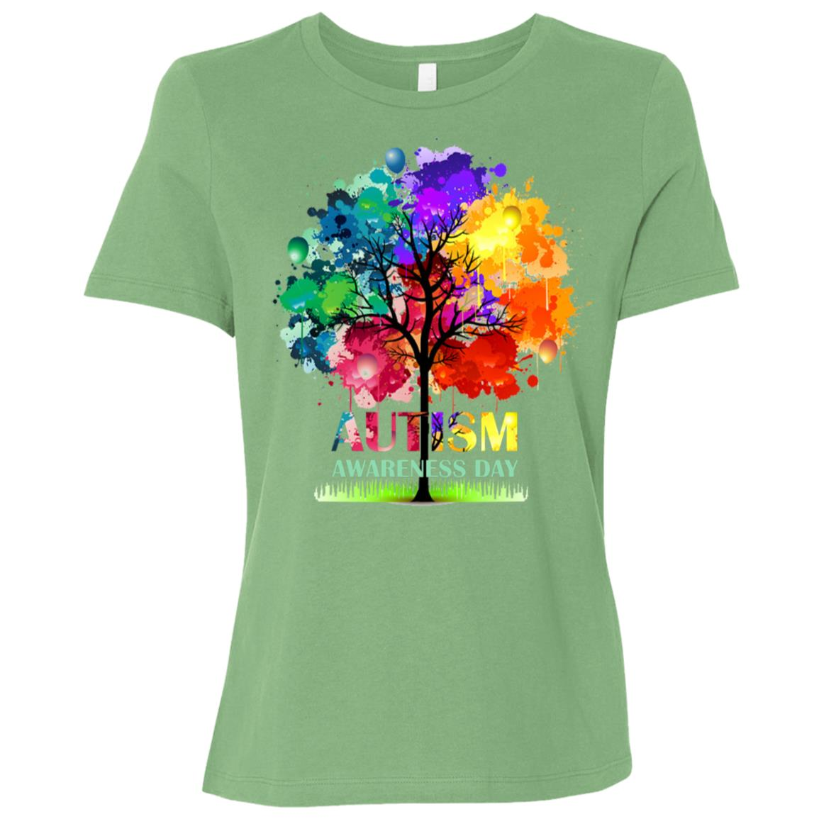Colorful Autism Tree Autism Awareness Day Women Short Sleeve T-Shirt