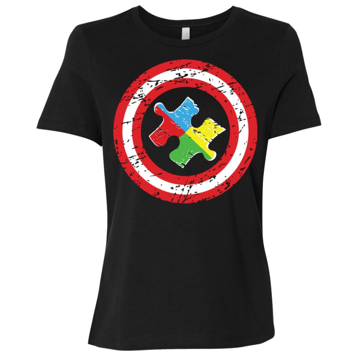 Captain Autism Awareness Puzzle Women Short Sleeve T-Shirt