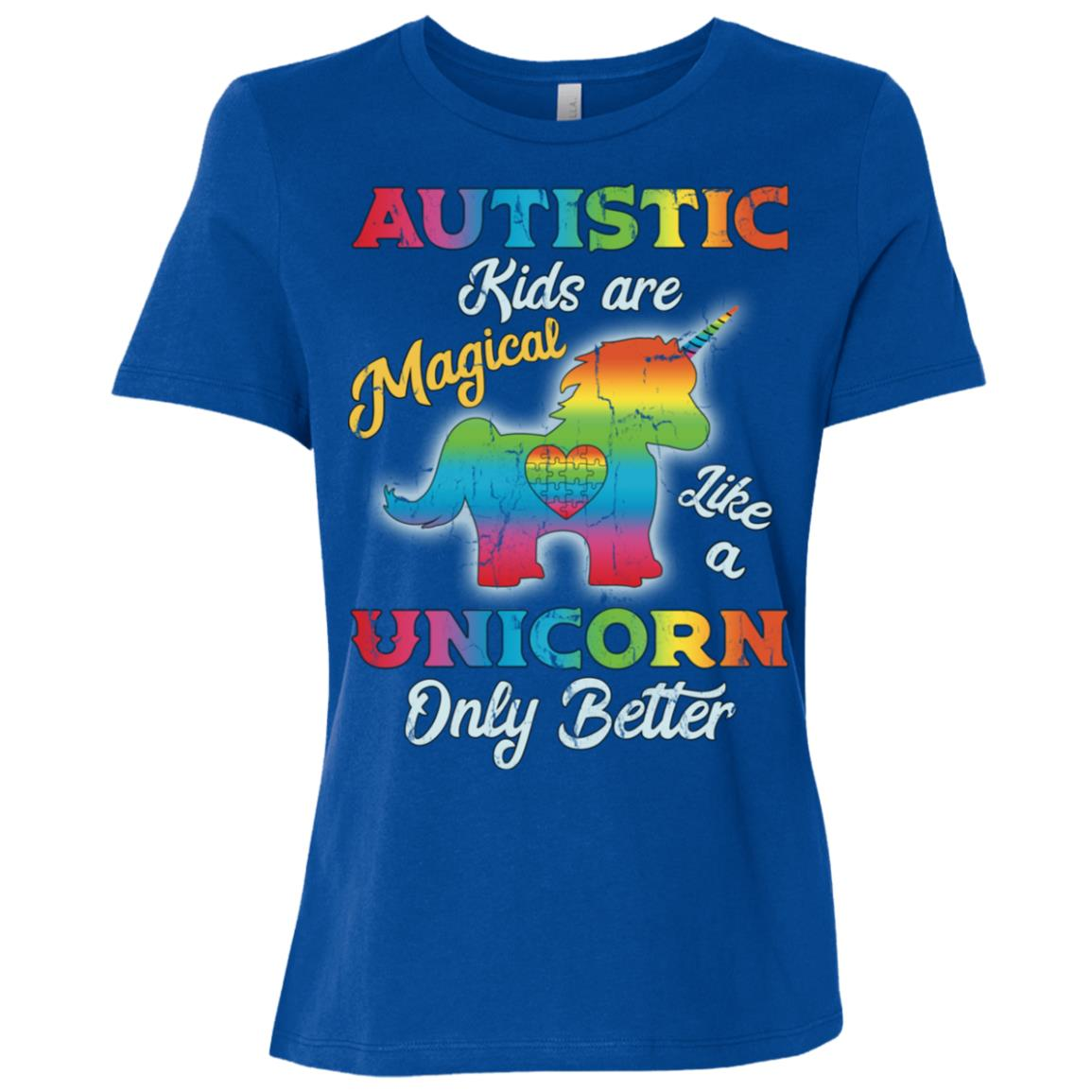 Autism Unicorn Girl Autism Awareness Women Short Sleeve T-Shirt