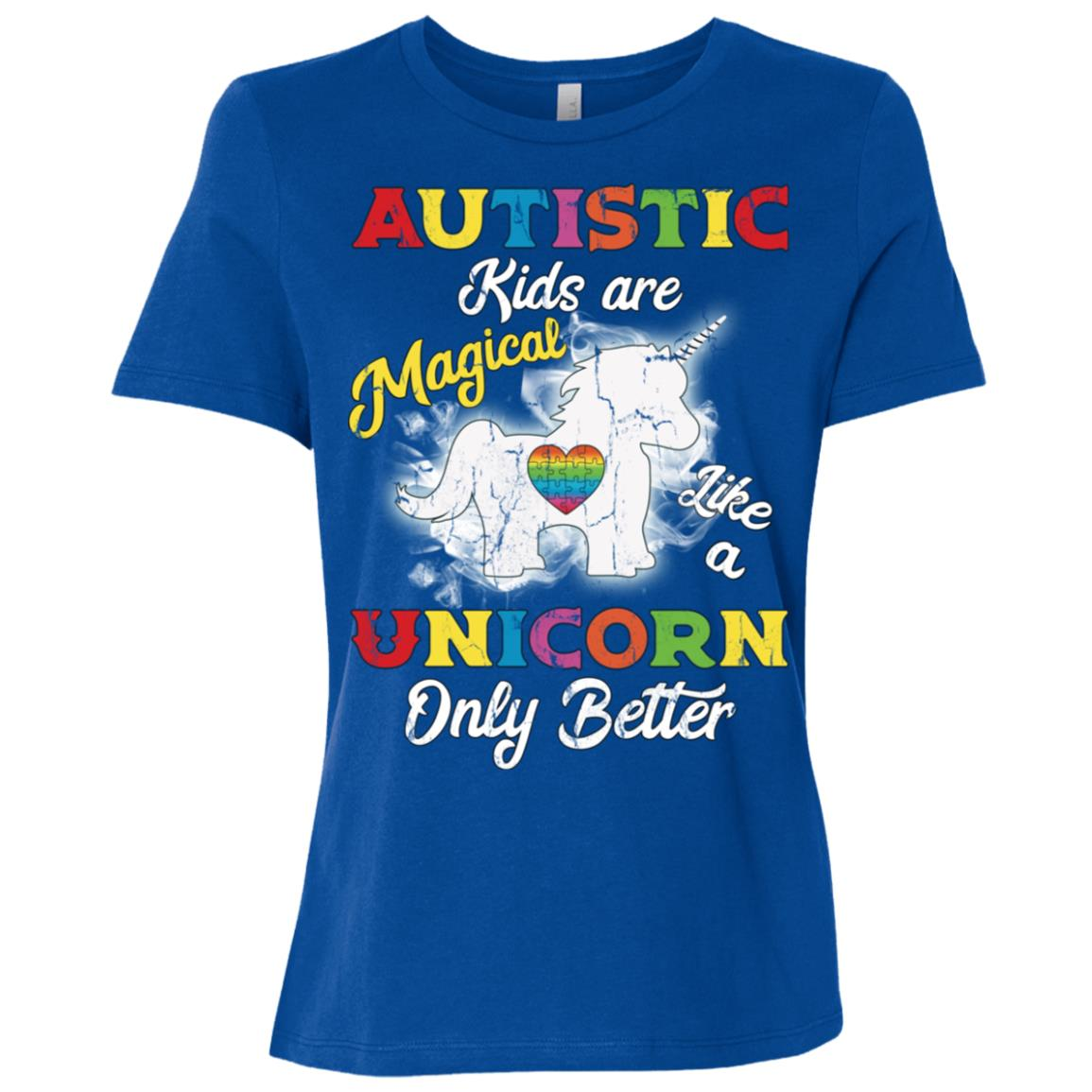 Autism Unicorn Autism Awareness Gift Women Short Sleeve T-Shirt