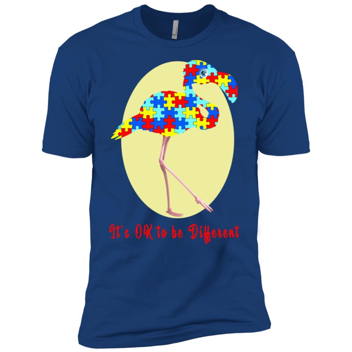 It's Ok To Be Different Autism Awareness Flamingo Men Short Sleeve T-Shirt