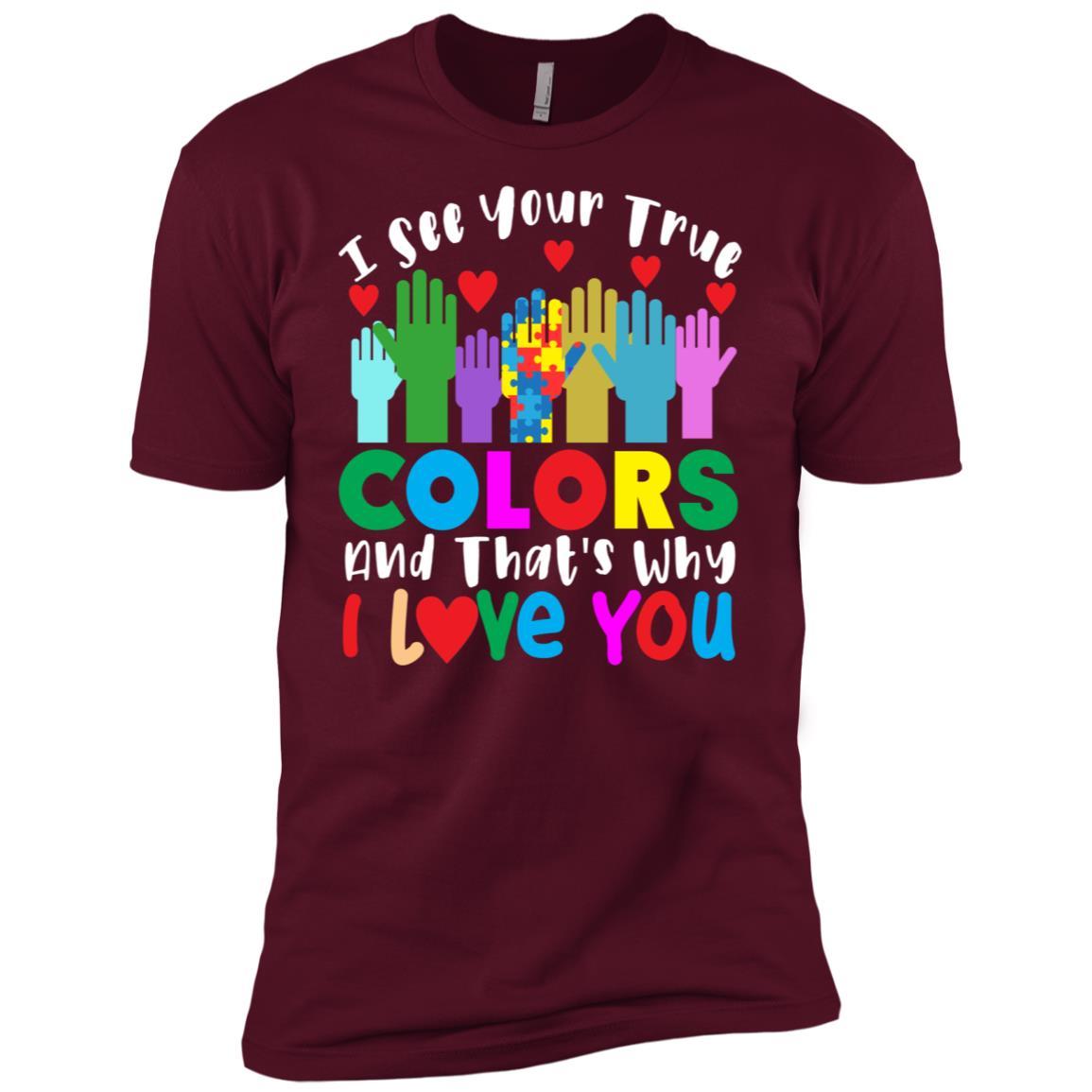 I See Your True Colors Autism Awarenesss Men Short Sleeve T-Shirt