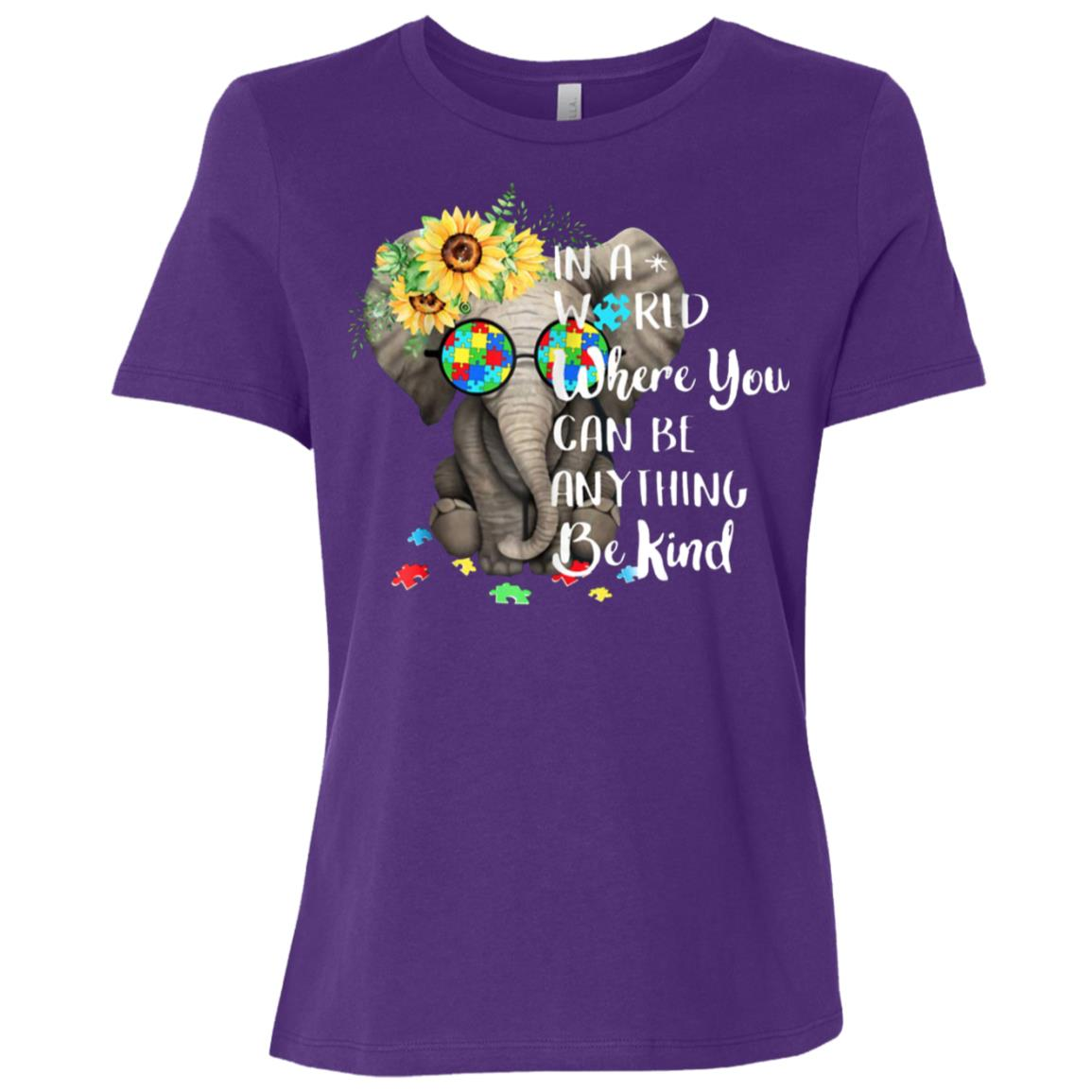 In A World Where You Can Be Anything Be Kind Autism Women Short Sleeve T-Shirt
