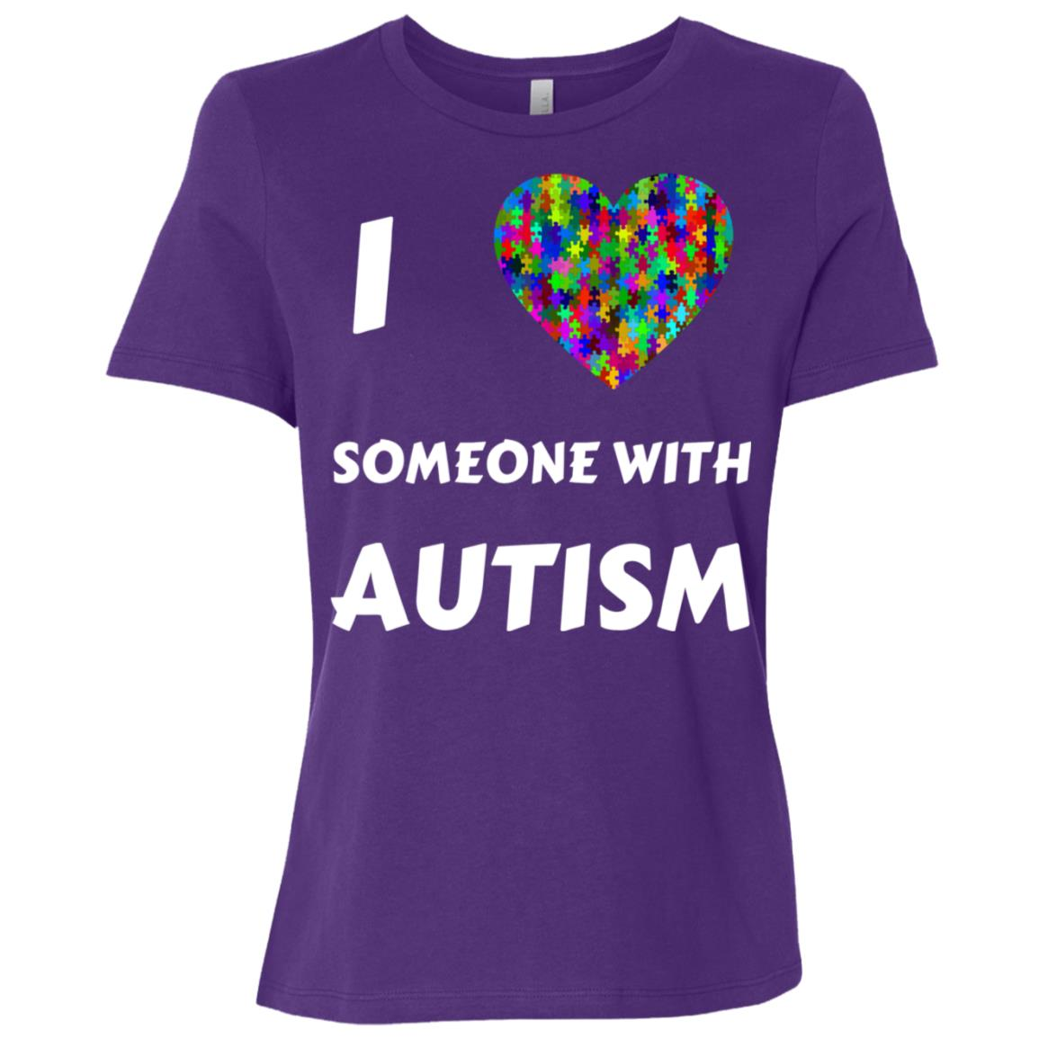 I Love Someone With Autism Mom Dad Awareness Month-1 Women Short Sleeve T-Shirt